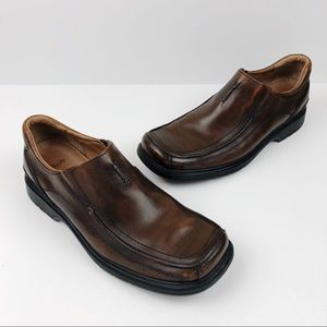 CLARKS Mens Brown Leather Slip-on Dress Loafers